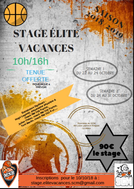 AFFICHE STAGE ELITE VACANCES